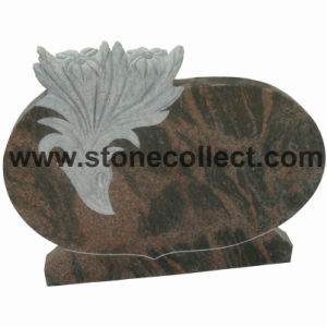 India Aurora Granite Headstone with Carved Flower pictures & photos
