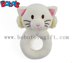 "5.5"" Cute Plush Stuffed White Cat Baby Rattle Toy pictures & photos"