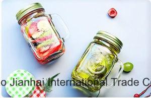 500ml Glass Bottle Mason Jar with Handle and Lids pictures & photos