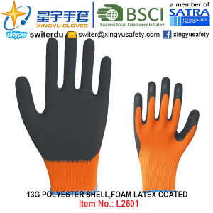 13G Polyester Shell Foam Latex Coated Gloves (L2601) with CE, En388, En420, Work Gloves pictures & photos