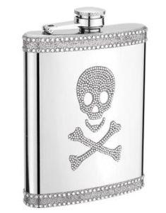 8oz Skull Diamante Stainless Steel Hip Flask (QL-DM08)