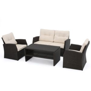 Well Furnir Wicker 4 Piece Deap Seating Group with Cushions WF-17049 pictures & photos