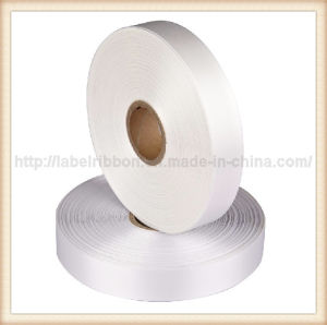 Flourescent White Color Double Face Printing Polyester Satin Ribbon (PS1214) pictures & photos