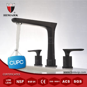 Himark Water-Saving Double Handle Brass Basin Faucet with Black Paint