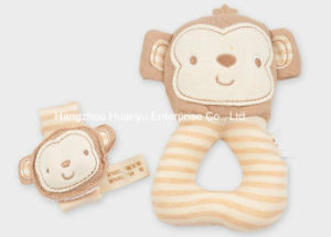 Factory Supply Organic Fabric Baby Wrist Strap and Rattle Toy Set pictures & photos
