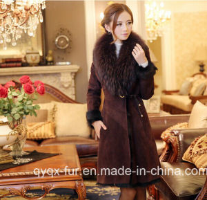Free Shipping Fur One Piece Female 2014 Medium-Long Genuine Leather Clothing Fur Coat Women Overcoat pictures & photos