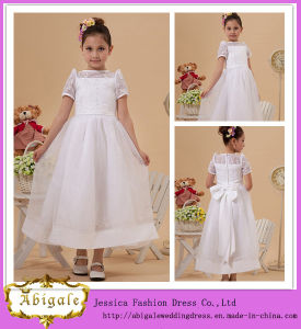 Elegant Organza White Short Sleeve Ball Gown Scoop Sash Flower Girl Dresses for 7 Year Olds Yj0125