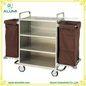 Hotel Stainless Steel Service Maid Housekeeping Trolley pictures & photos