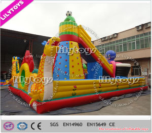 Best Quality Plato PVC Inflatable Fun City with Climbing Wall (Lilytoys-New-035) pictures & photos