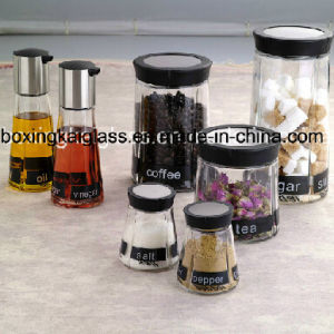 Seven Pieces Glass Jar Set with Decal