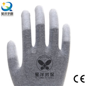 ESD Gloves with Finger Tip PU Coated Safety Work Gloves (P1007) pictures & photos