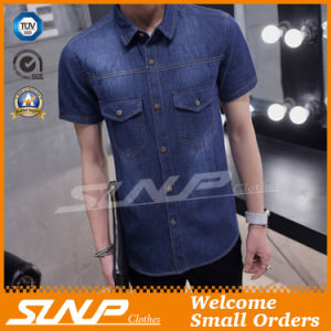Indigo Color Short Sleeves 100% Cotton Men Shirts