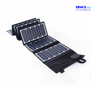 High Effi. 23.5% Sunpower Folding Solar Panel 60W Double Output 15V/5vportable Solar Charger for Laptop Tablet PC Car Battery Cell Phones (FSC-60A) pictures & photos