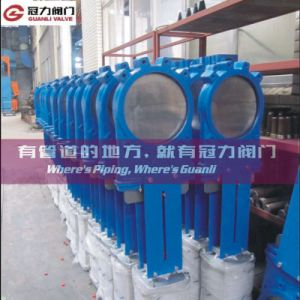 Ductile Iron Knife Gate Valve with Pneumatic Cylinder pictures & photos