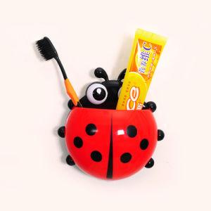 Lovely Ladybug Wall Suction Toothbrush Holder