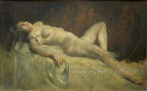 Portrait Nude Women Oil Painting for Home Decortaive Ebf-039 pictures & photos