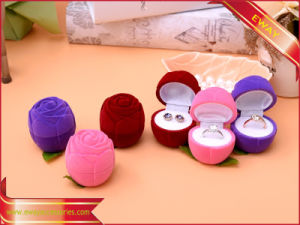 Rose Ring Box Jewelry Packing Box Velvet Ring Box pictures & photos