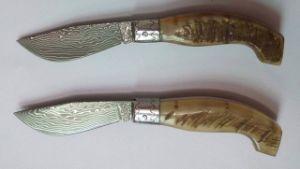 Damascus Italian Folding Knife/ Pocket Knife/ Horn Handle, Sheep Horn Handle, Buckhorn Handle, Damascus Blade, Stainless Steel