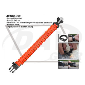 25.5X2 Cm Orange Survival Bracelet with Fire Starter (4EN68-GE) pictures & photos