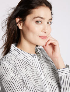 Cotton Silk Striped Long Sleeve Shirt for Women pictures & photos