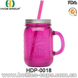 20oz BPA Free Double Wall Plastic Mason Jar with Handle pictures & photos