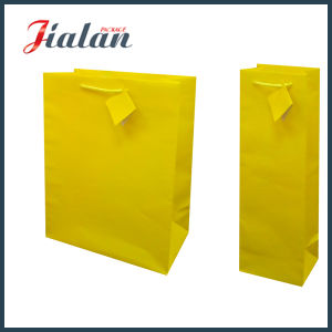 Yellow Pantone Color Logo Printed Custom Paper Bag for Wine pictures & photos