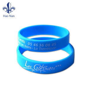 Fashion Design Ink Filled Promotional 3/4 Inch Silicone Wristband pictures & photos