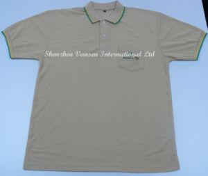 Fashion Khaki Polo Shirt with Pocket and Embroidery Logo pictures & photos