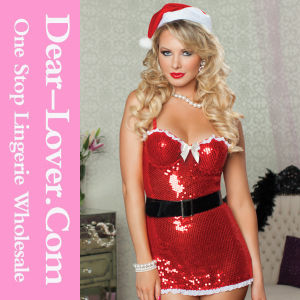 Naughty and Nice Red Sequin Sexy Christmas Costume Santa pictures & photos
