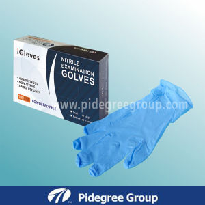 Malaysia Nitrile Exam Gloves with Blue Color pictures & photos