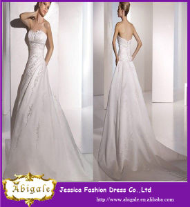2014 Latest Designer Simple Sheath Ivory Floor Length Appliqued Taffeta Sweep Train Elegant Cheap Wedding Dresses
