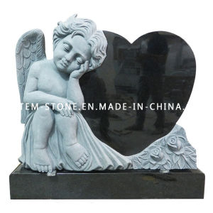 Black Granite Headstone, Hand Carved Angel Monuments with Heart Tombstones pictures & photos