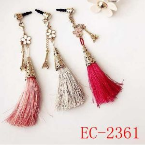 Ec-2361 Tassels Plating Gold Cellphone Dust Plug