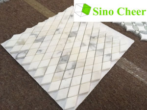 Polished Diamond Shape White Marble Mosaic Tile pictures & photos