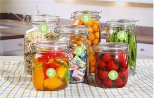 Custom Empty Tall Food Glass Jars with Hinged Lids