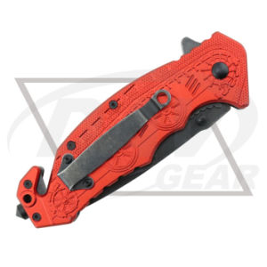 "5""Closed Red Handle Spring Assistant Knife with 420 Blade (5PF7-50RD) pictures & photos"