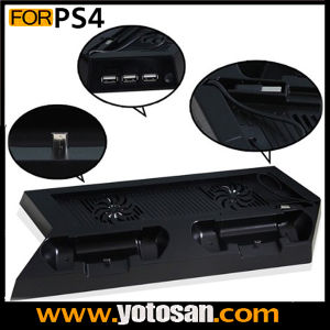 Console Cooling Fan with Dual Controller Charger Dock Station Stand Build-in 3 Port USB Hub for PS4