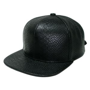Snakeskin PU Fabric Snapback Hat Fashion Caps Flat Peak pictures & photos