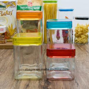 Factory Wholesale Bottle Transparent Square Elegant Storage Glass Jar (100083) pictures & photos