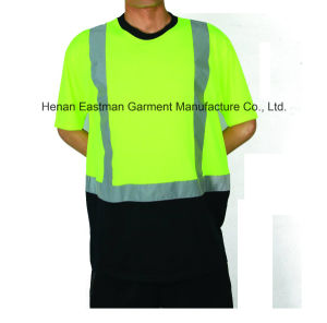 Yellow/Black Men′s Safety Reflective T-Shirt pictures & photos