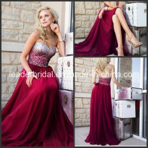 Wine Crystals Fashion Evening Dress Vestidos Party Prom Gowns Ld1157 pictures & photos