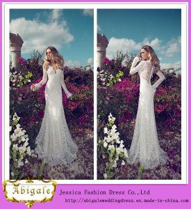 Elegant Floor Length V-Neck See Through Back Long Sleeve Lace Julie Vino Wedding Dresses (MN1055)