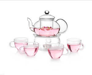 Glass Tea Pot Tea Set with Drinking Cup pictures & photos