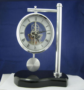 Table Clock with Silver Plated Pendulum pictures & photos