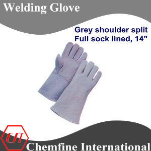 Grey Shoulder Split, Full Sock Lined Leather Welding Glove pictures & photos