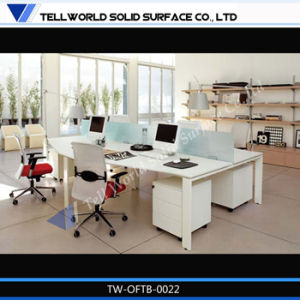 Acrylic Solid Surface Office Countertop Corian White Stone Circle Style Office Staff Workstation pictures & photos