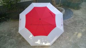 Windproof Double Layer Golf Umbrella/Windbrella in White and Red