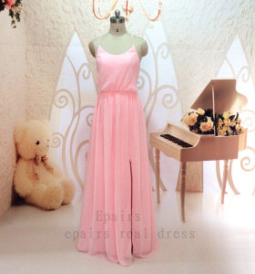 Vestidos De Festa 2014 Simple Spaghetti Strap Open Back Pink Long Chiffon Prom Dress with Side Silt