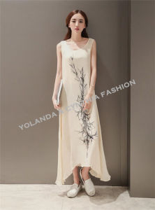 Chinese Style Cotton Linen Vest Long Dress