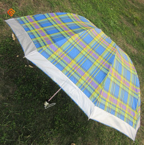 New Arrival 3-Folding Checker Flower Umbrella (YS-3F1006A)